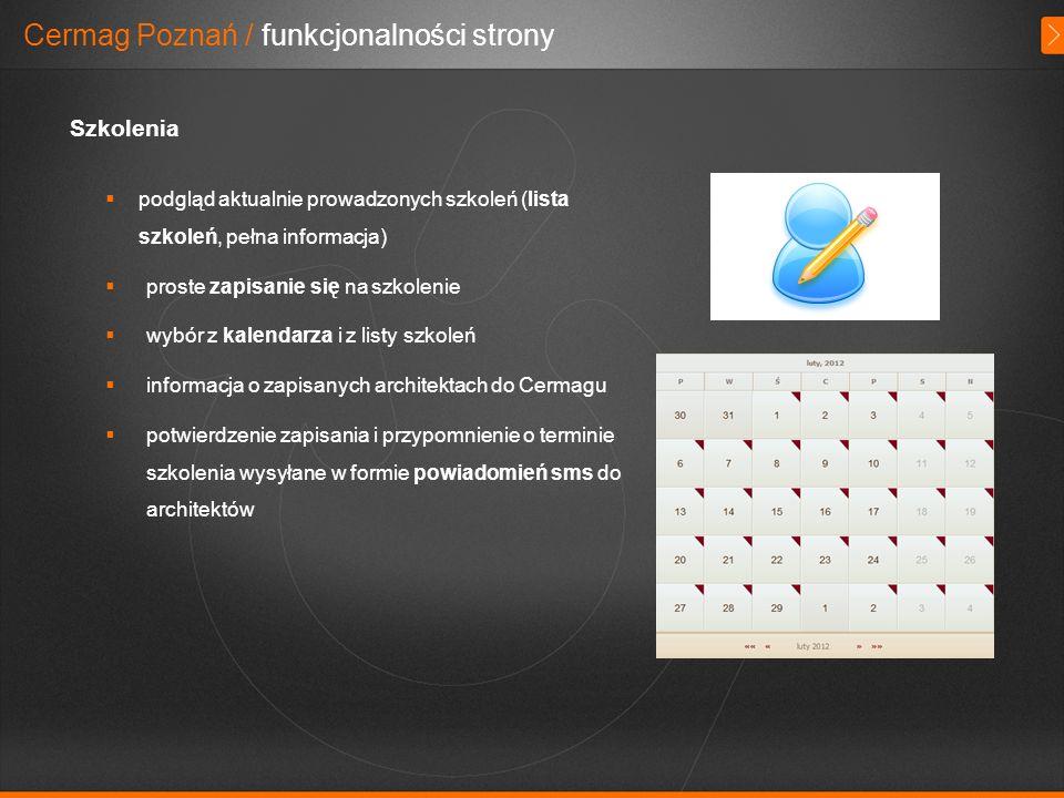 Cermag Poznań / funkcjonalności strony