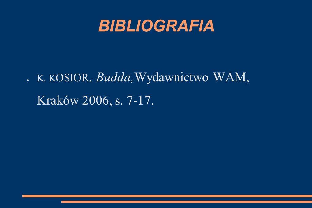 BIBLIOGRAFIA K. KOSIOR, Budda,Wydawnictwo WAM, Kraków 2006, s. 7-17.