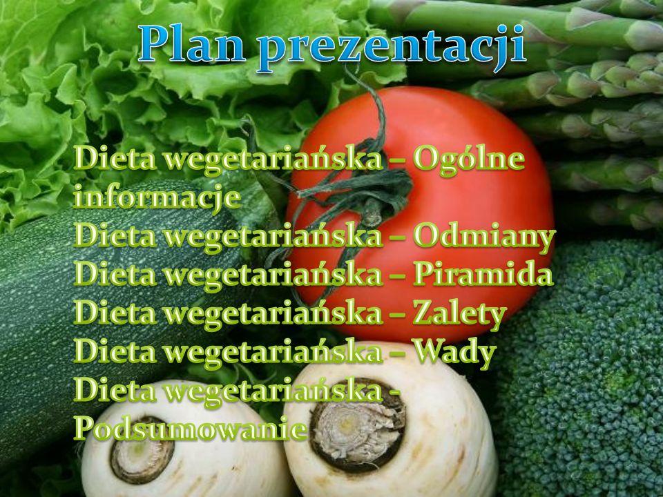 Plan prezentacji Dieta wegetariańska – Ogólne informacje