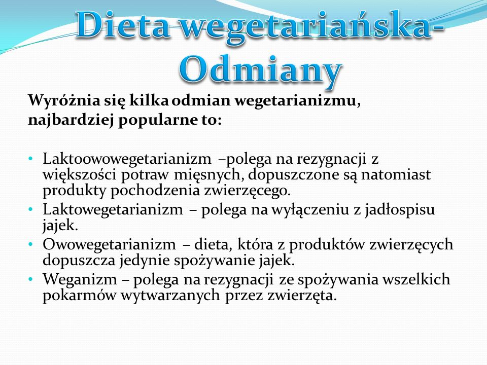 Dieta wegetariańska- Odmiany