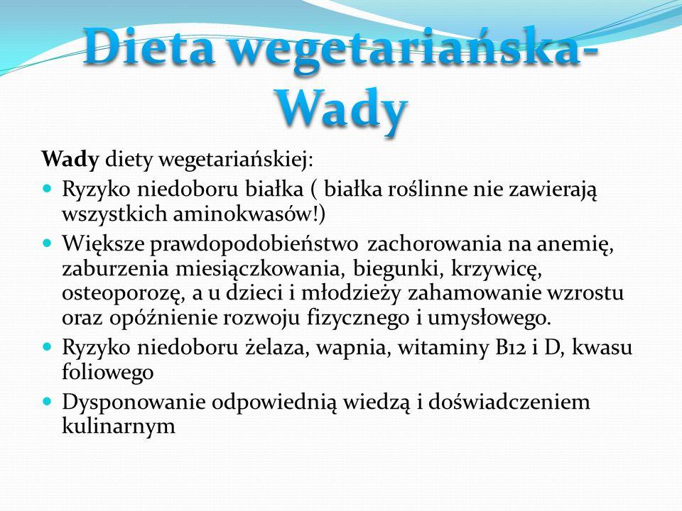 Dieta wegetariańska- Wady