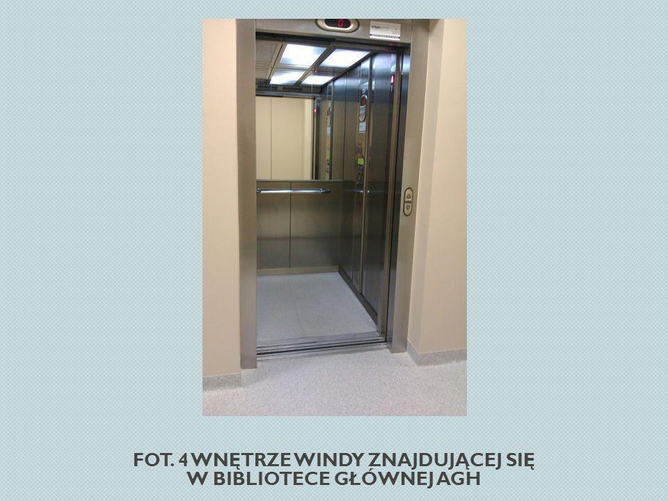 Fot. 4 Wnętrze windy znajdującej się w Bibliotece Głównej AGH