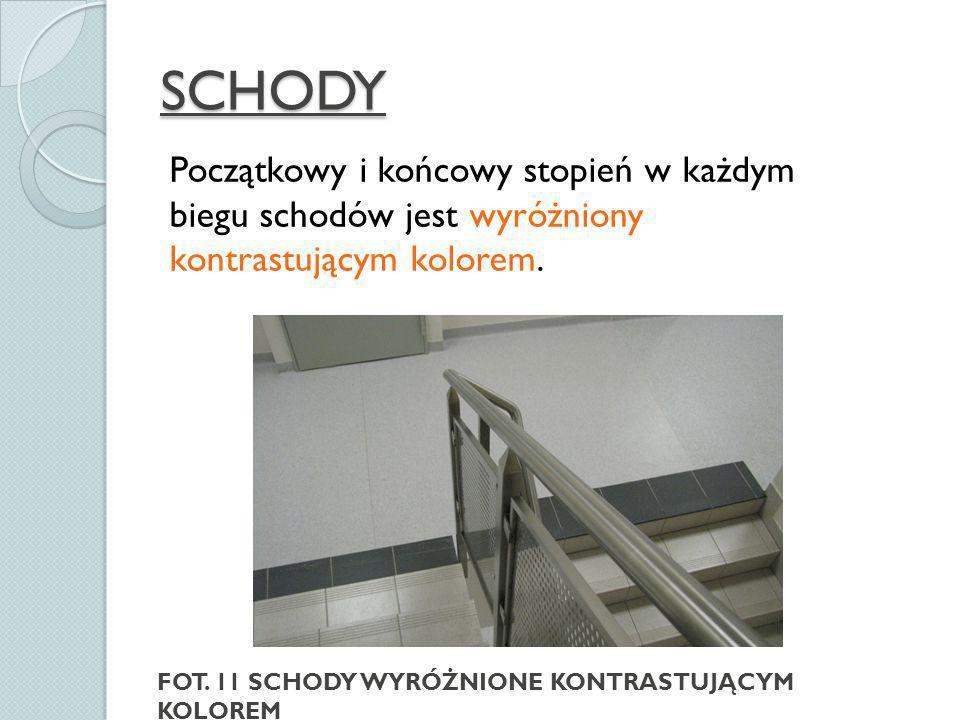 SCHODY Początkowy i końcowy stopień w każdym biegu schodów jest wyróżniony kontrastującym kolorem.
