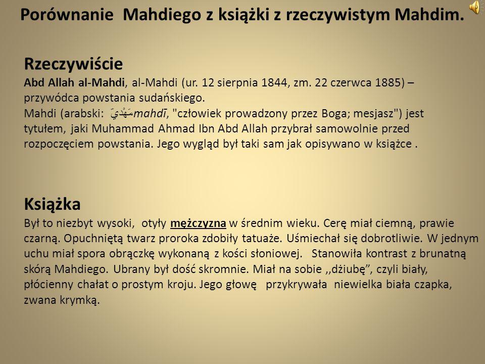 Porównanie Mahdiego z książki z rzeczywistym Mahdim.