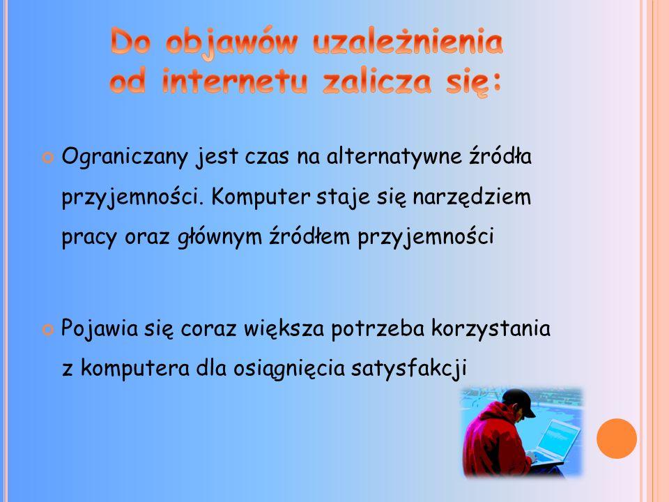 Do objawów uzależnienia od internetu zalicza się: