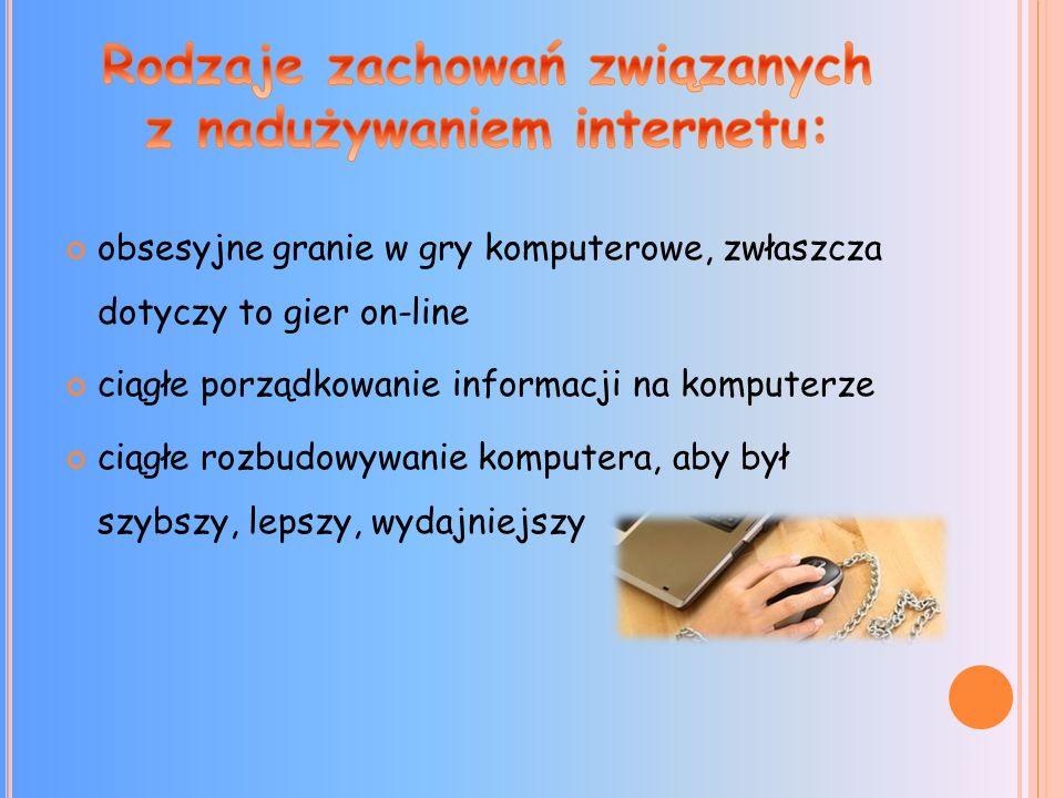 Rodzaje zachowań związanych z nadużywaniem internetu: