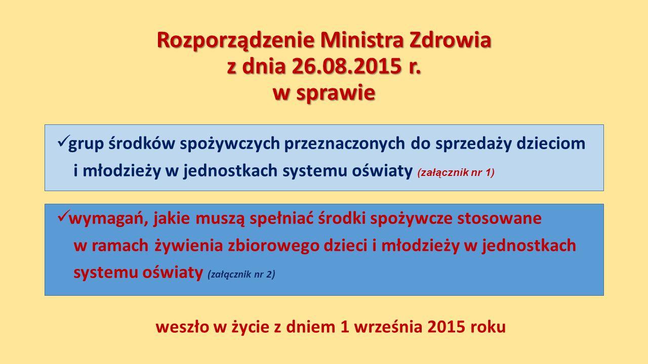 Rozporządzenie Ministra Zdrowia z dnia 26.08.2015 r. w sprawie