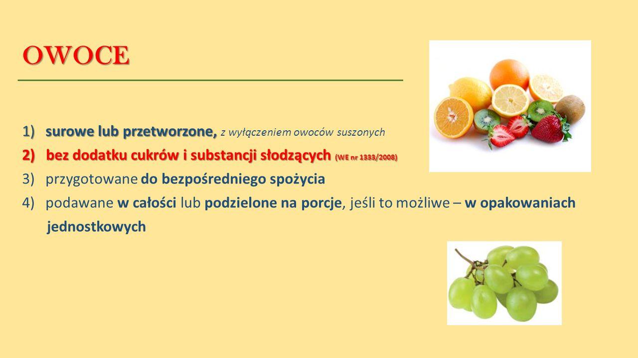 OWOCE 1) surowe lub przetworzone, z wyłączeniem owoców suszonych