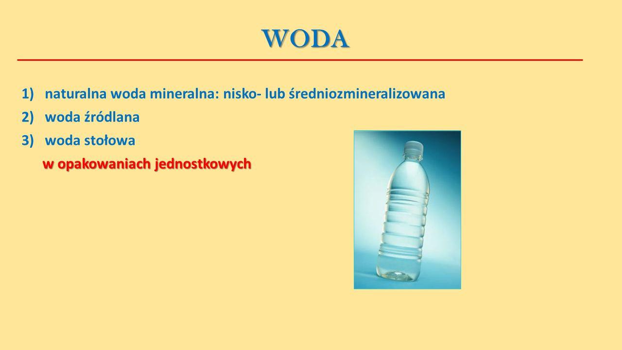 WODA 1) naturalna woda mineralna: nisko- lub średniozmineralizowana