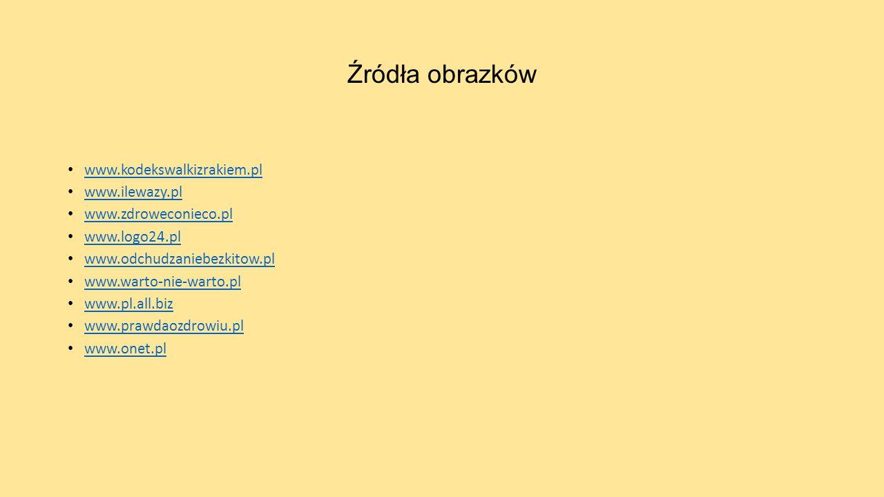 Źródła obrazków www.kodekswalkizrakiem.pl www.ilewazy.pl