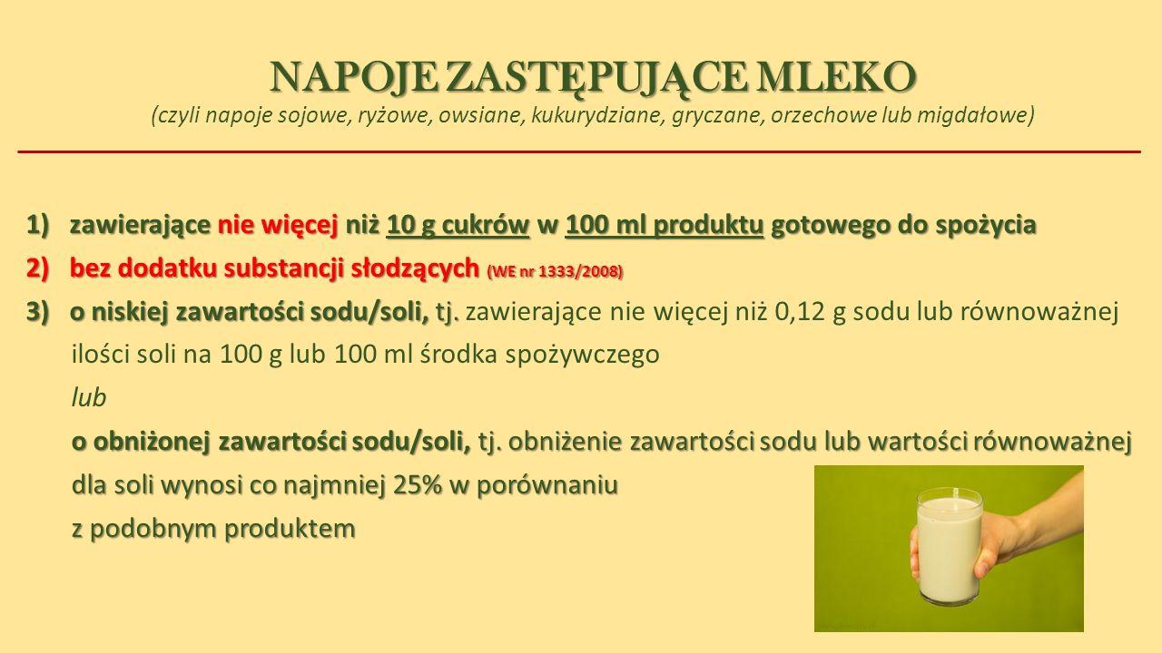 NAPOJE ZASTĘPUJĄCE MLEKO (czyli napoje sojowe, ryżowe, owsiane, kukurydziane, gryczane, orzechowe lub migdałowe)