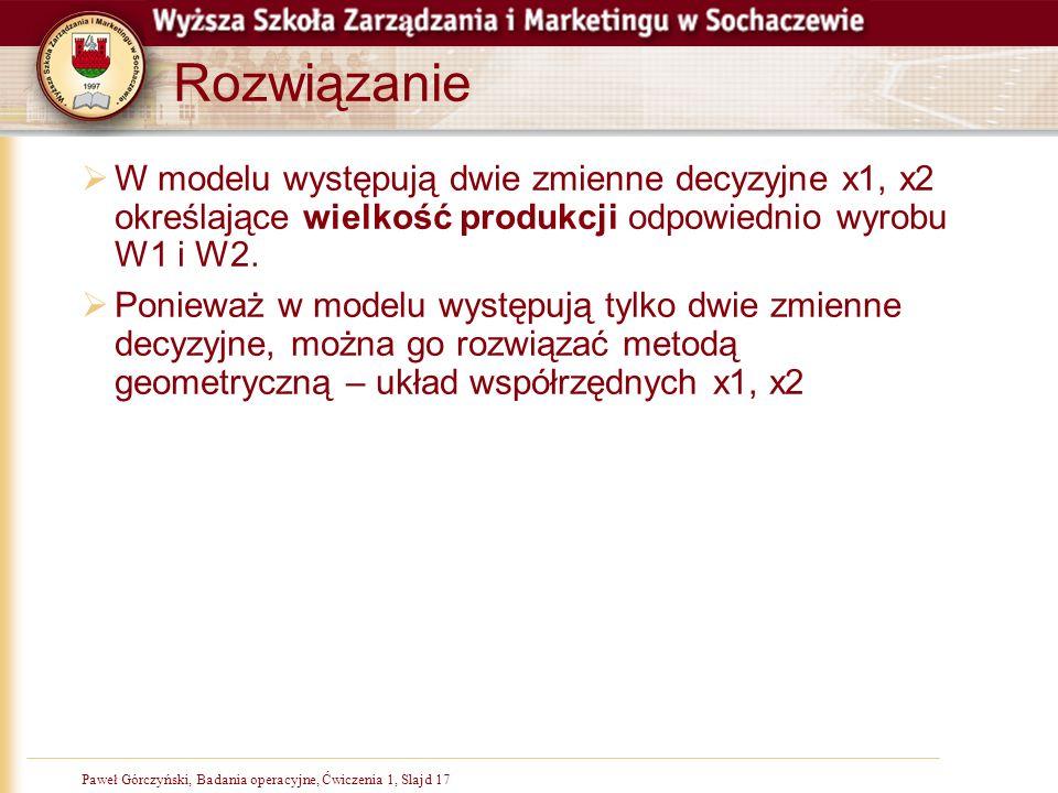 Rozwiązanie W modelu występują dwie zmienne decyzyjne x1, x2 określające wielkość produkcji odpowiednio wyrobu W1 i W2.