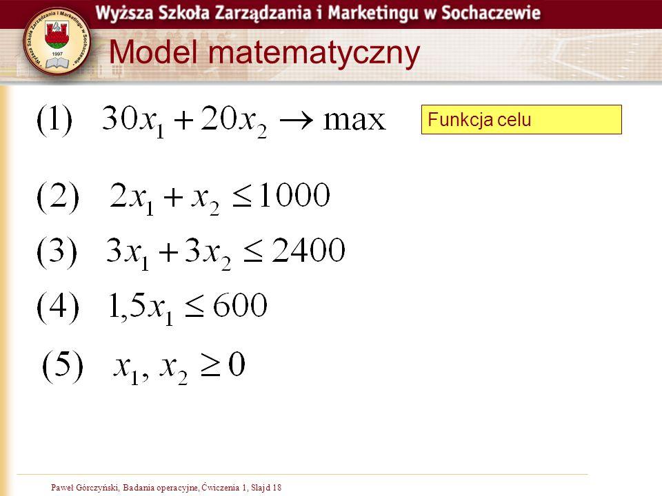 Model matematyczny Funkcja celu