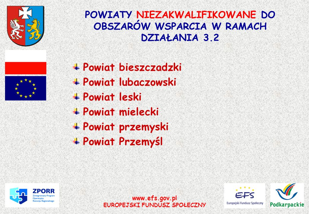 POWIATY NIEZAKWALIFIKOWANE DO OBSZARÓW WSPARCIA W RAMACH DZIAŁANIA 3.2