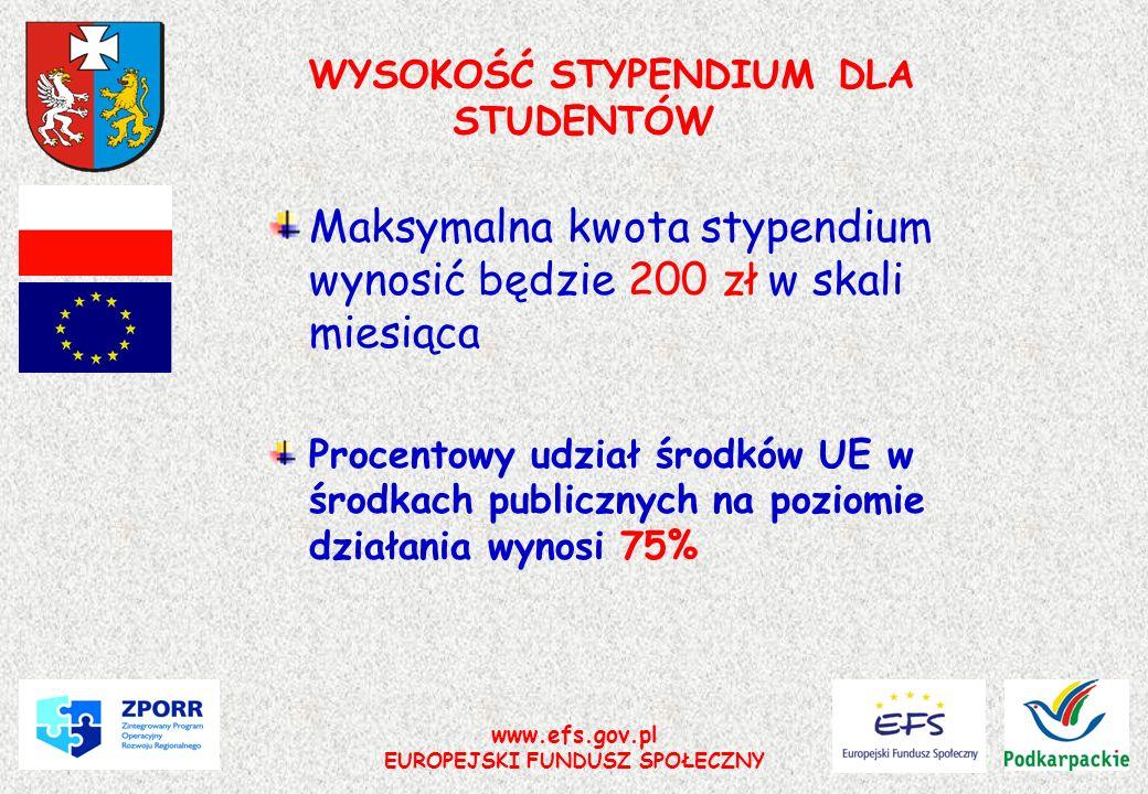 WYSOKOŚĆ STYPENDIUM DLA STUDENTÓW