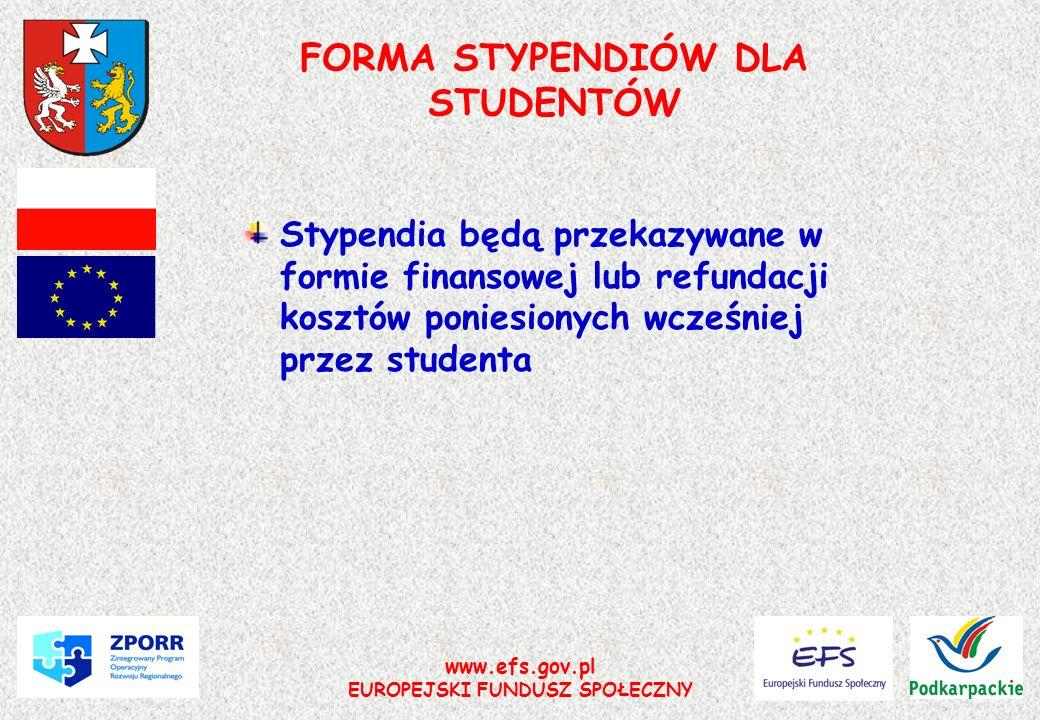 FORMA STYPENDIÓW DLA STUDENTÓW