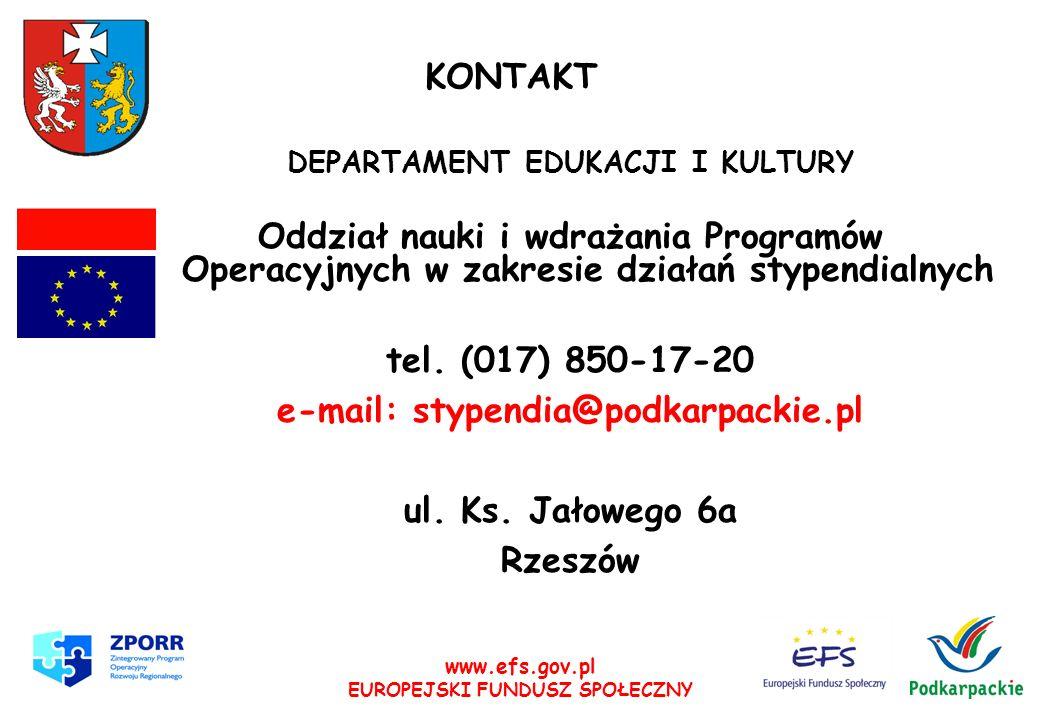e-mail: stypendia@podkarpackie.pl ul. Ks. Jałowego 6a Rzeszów