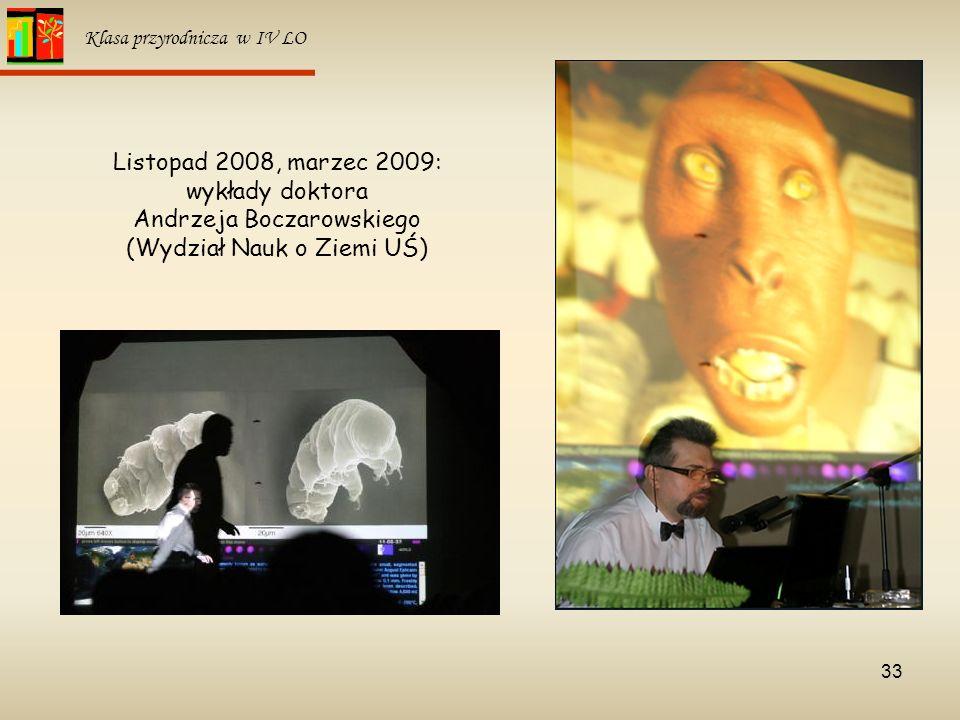 Listopad 2008, marzec 2009: wykłady doktora Andrzeja Boczarowskiego