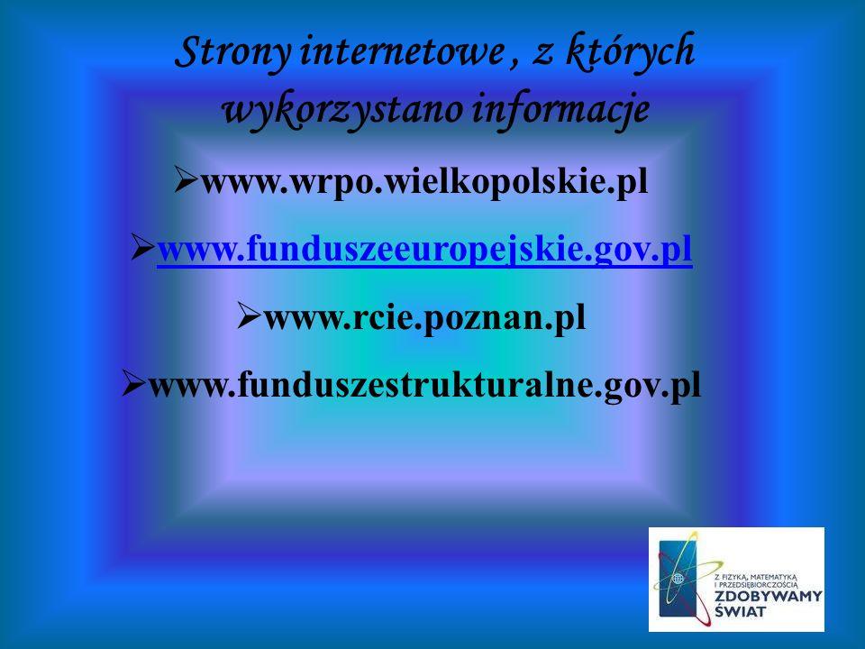 Strony internetowe , z których wykorzystano informacje