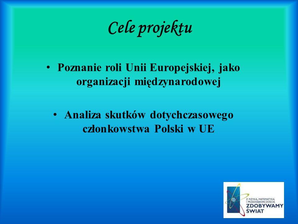 Cele projektuPoznanie roli Unii Europejskiej, jako organizacji międzynarodowej.