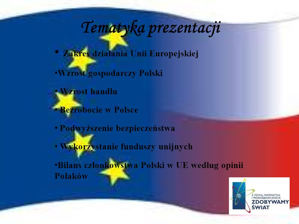 Tematyka prezentacji Zakres działania Unii Europejskiej
