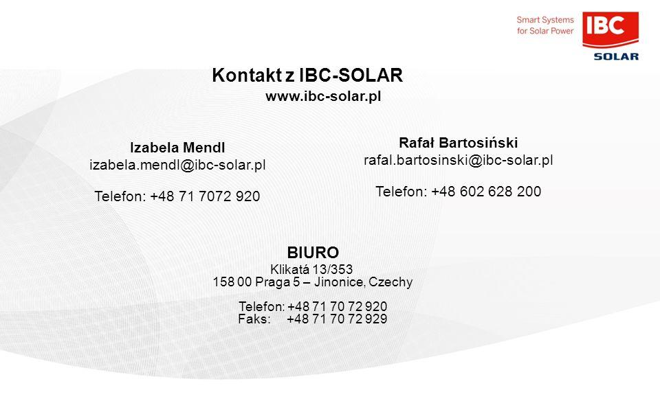 Kontakt z IBC-SOLAR BIURO www.ibc-solar.pl Rafał Bartosiński