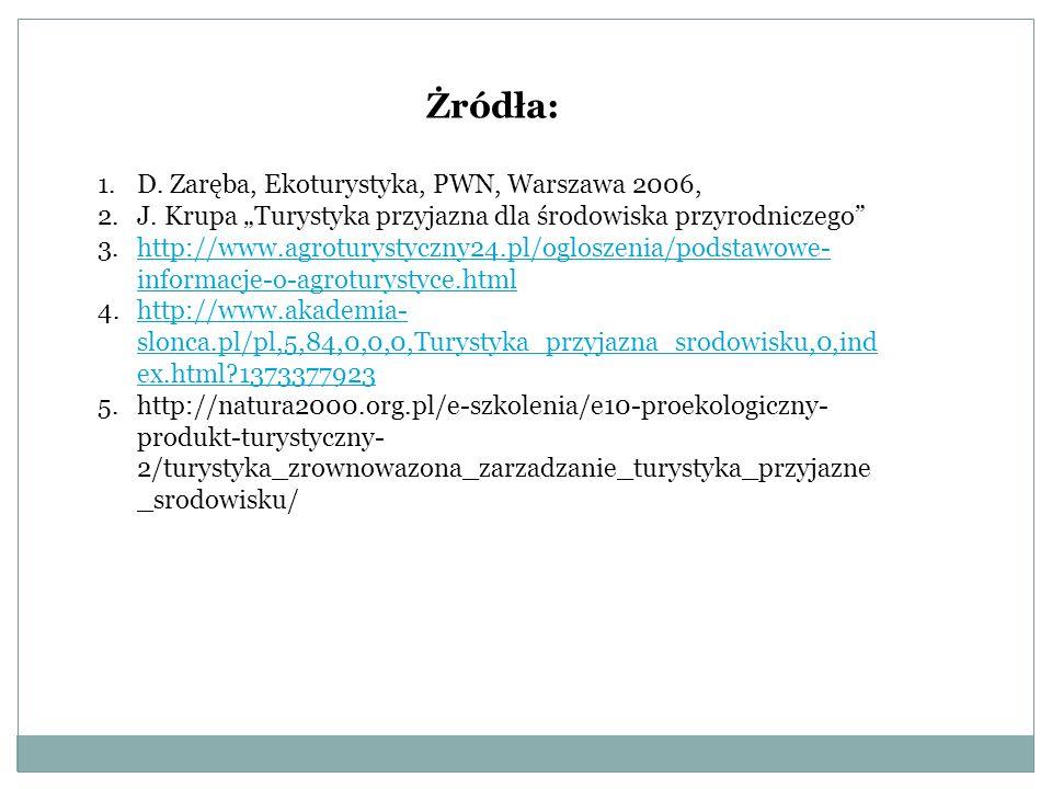 """Żródła: D. Zaręba, Ekoturystyka, PWN, Warszawa 2006, J. Krupa """"Turystyka przyjazna dla środowiska przyrodniczego"""