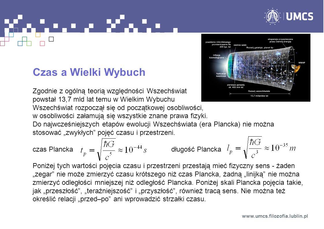 Czas a Wielki Wybuch Zgodnie z ogólną teorią względności Wszechświat