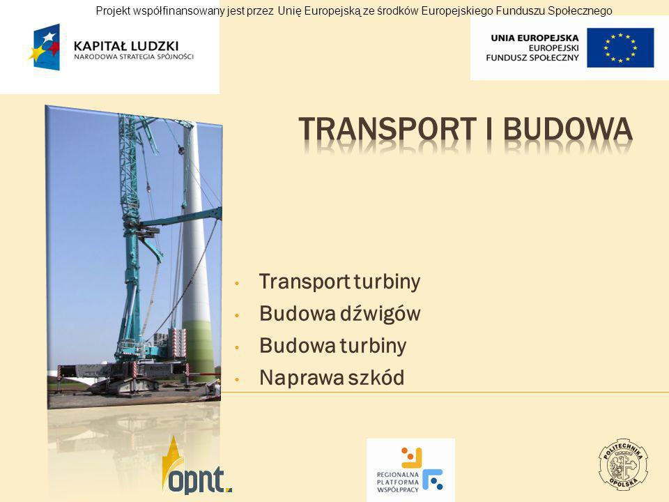 Transport turbiny Budowa dźwigów Budowa turbiny Naprawa szkód