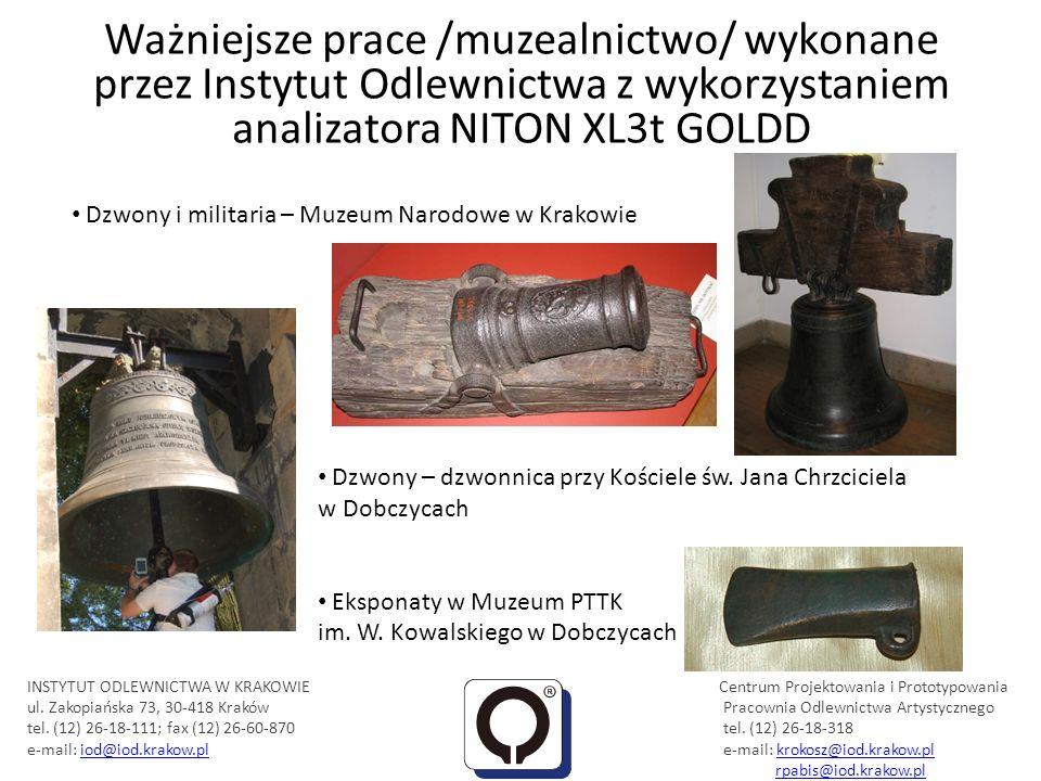 Ważniejsze prace /muzealnictwo/ wykonane przez Instytut Odlewnictwa z wykorzystaniem analizatora NITON XL3t GOLDD