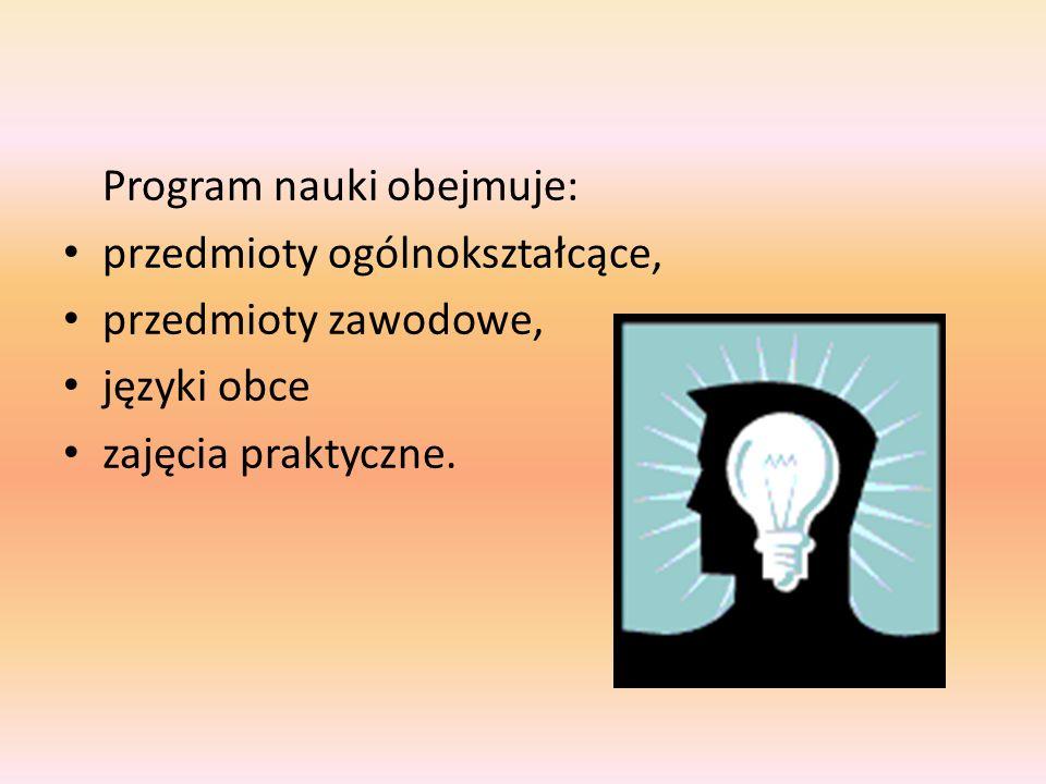 Program nauki obejmuje: