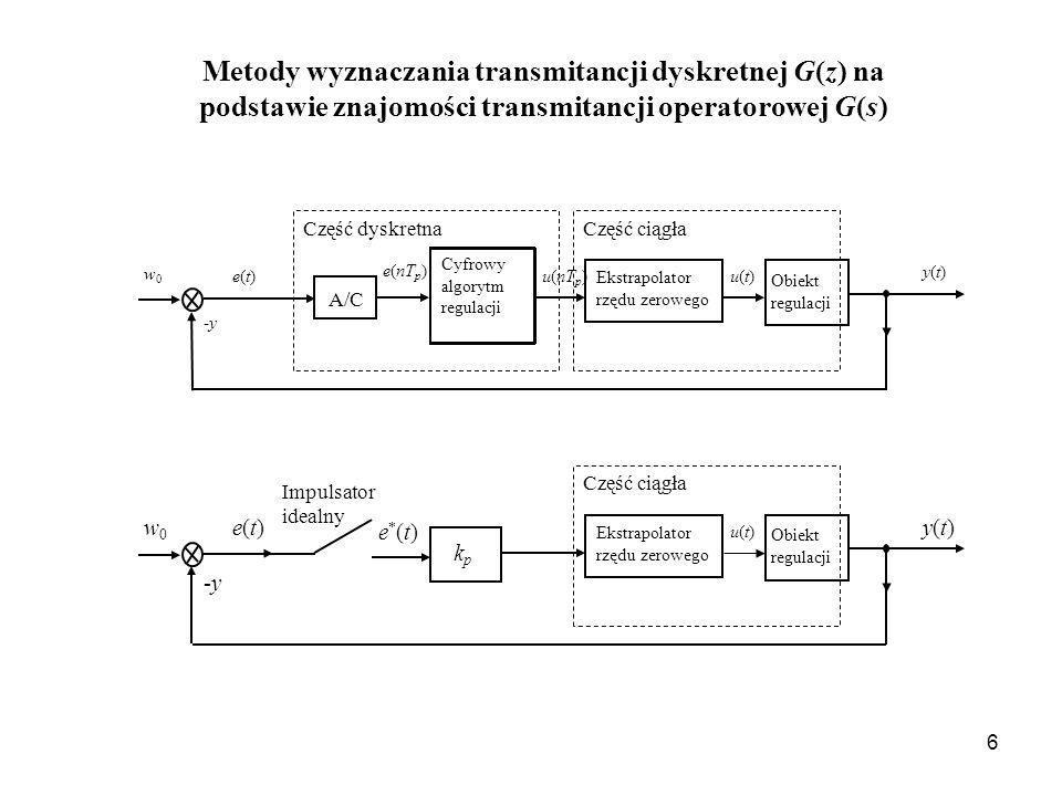Metody wyznaczania transmitancji dyskretnej G(z) na podstawie znajomości transmitancji operatorowej G(s)