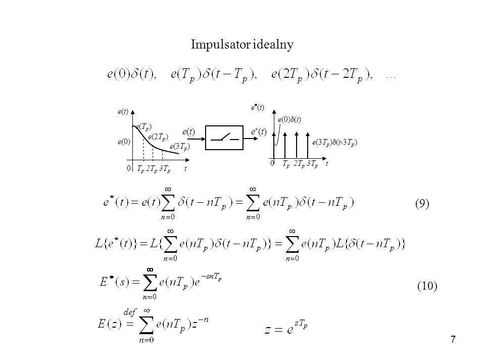 Impulsator idealny (9) (10) e(3Tp)(t-3Tp) 0 Tp 2Tp 3Tp t