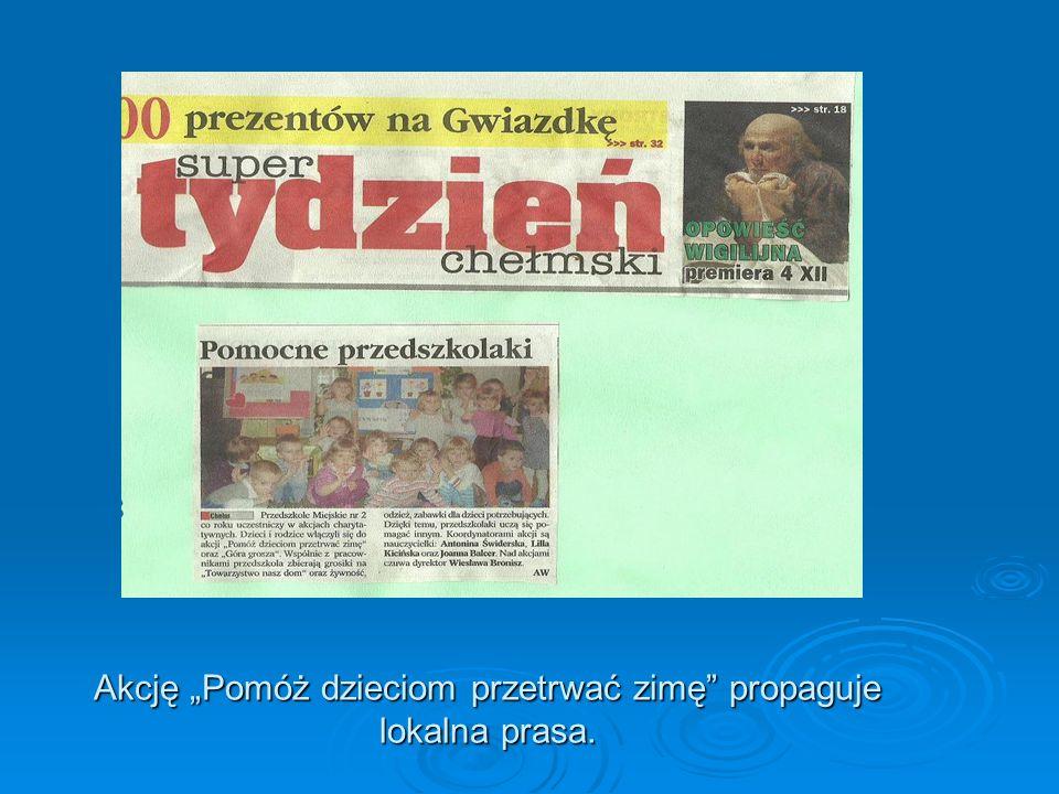 """Akcję """"Pomóż dzieciom przetrwać zimę propaguje lokalna prasa."""