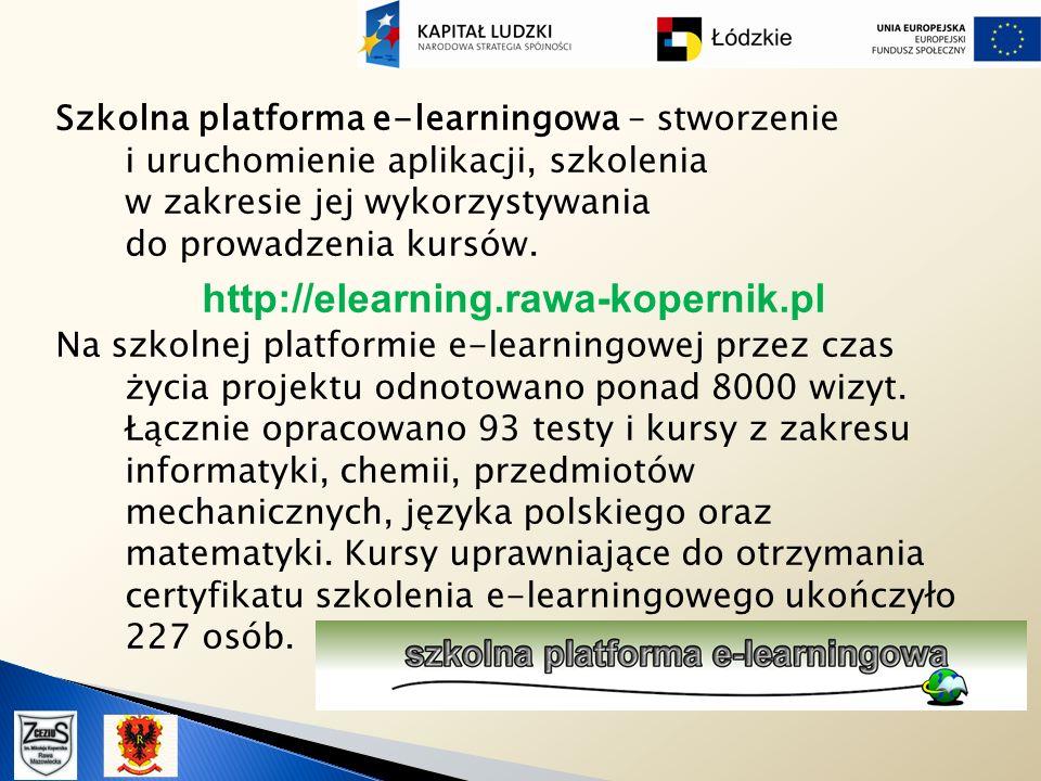 Szkolna platforma e-learningowa – stworzenie i uruchomienie aplikacji, szkolenia w zakresie jej wykorzystywania do prowadzenia kursów.