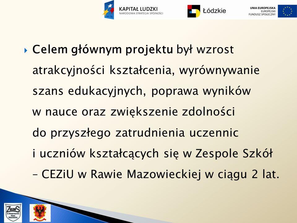 Celem głównym projektu był wzrost atrakcyjności kształcenia, wyrównywanie szans edukacyjnych, poprawa wyników w nauce oraz zwiększenie zdolności do przyszłego zatrudnienia uczennic i uczniów kształcących się w Zespole Szkół – CEZiU w Rawie Mazowieckiej w ciągu 2 lat.
