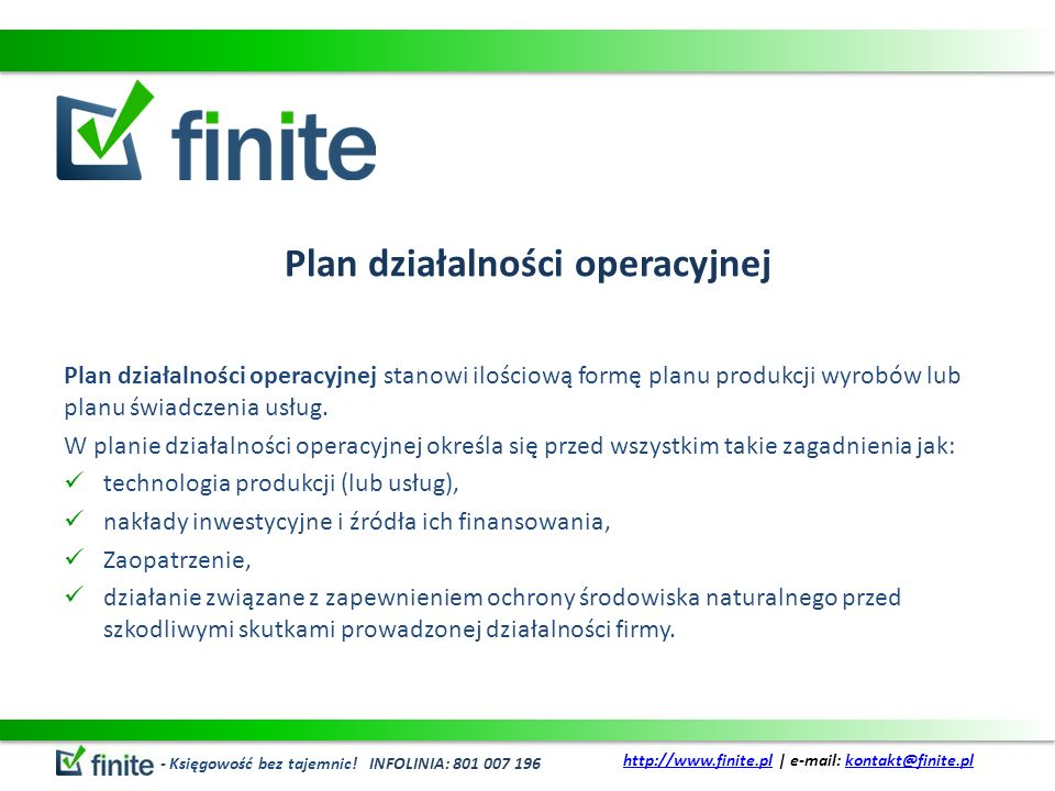 Plan działalności operacyjnej