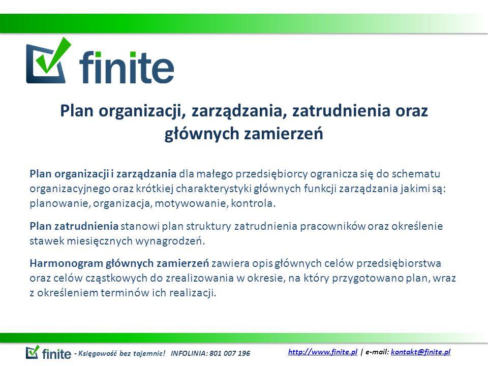Plan organizacji, zarządzania, zatrudnienia oraz głównych zamierzeń
