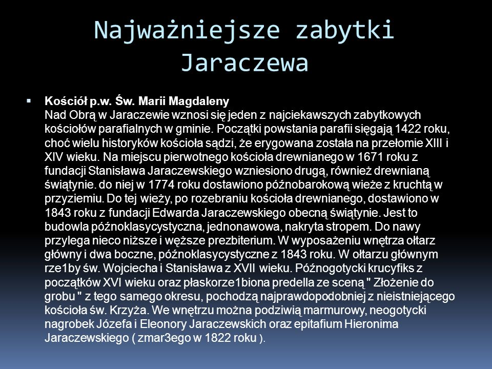 Najważniejsze zabytki Jaraczewa