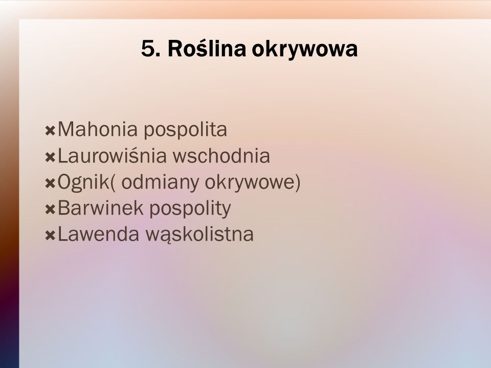 5. Roślina okrywowa Mahonia pospolita Laurowiśnia wschodnia