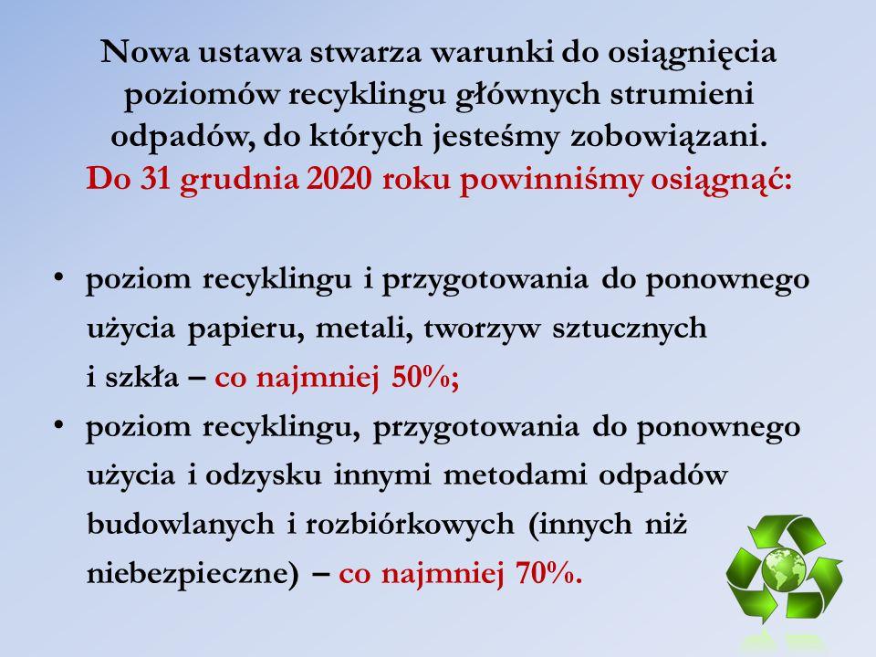 Nowa ustawa stwarza warunki do osiągnięcia poziomów recyklingu głównych strumieni odpadów, do których jesteśmy zobowiązani. Do 31 grudnia 2020 roku powinniśmy osiągnąć: