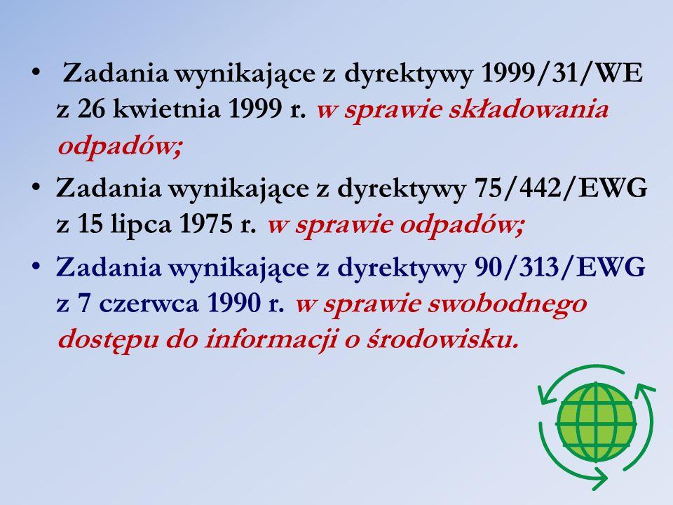 Zadania wynikające z dyrektywy 1999/31/WE z 26 kwietnia 1999 r