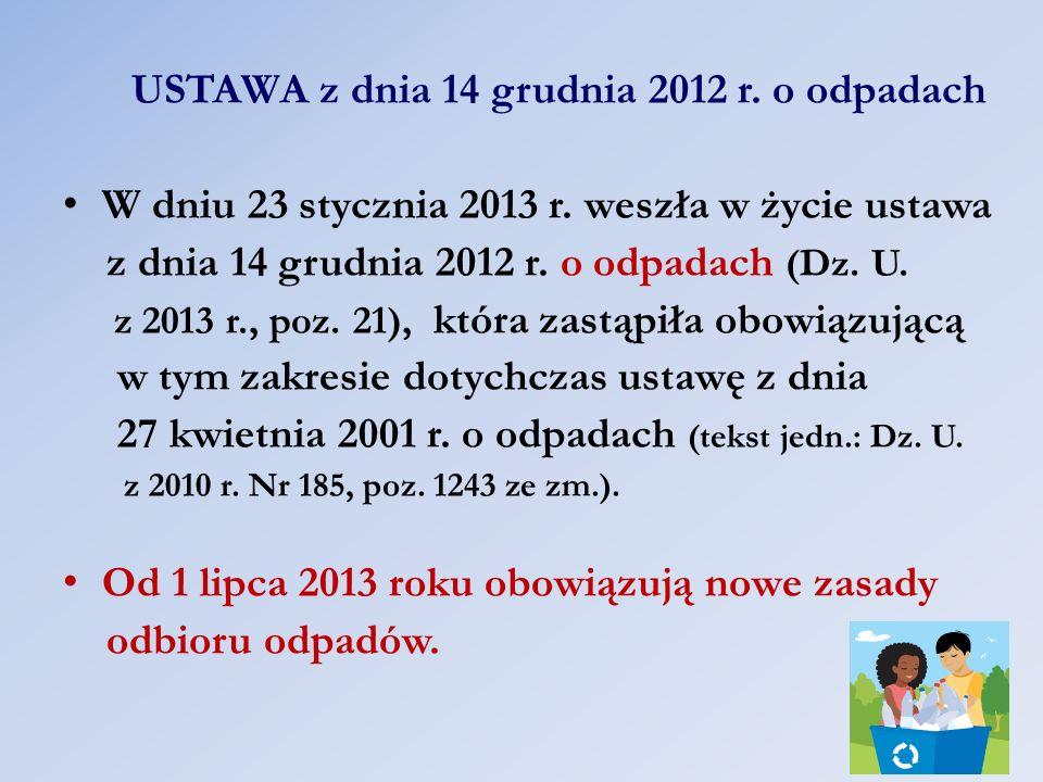 USTAWA z dnia 14 grudnia 2012 r. o odpadach