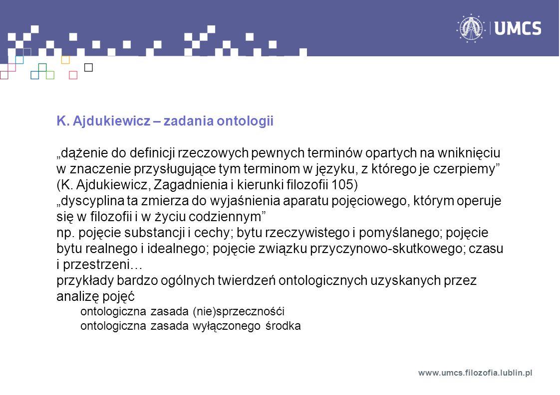 K. Ajdukiewicz – zadania ontologii