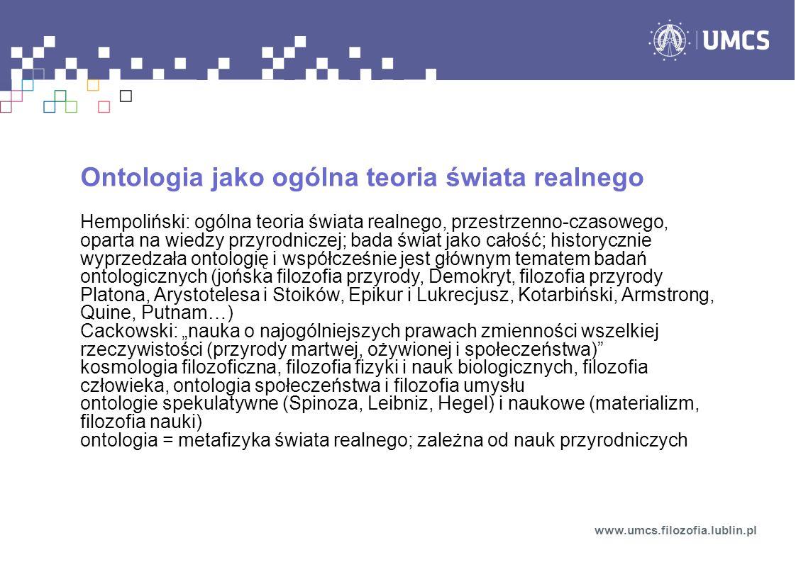 Ontologia jako ogólna teoria świata realnego
