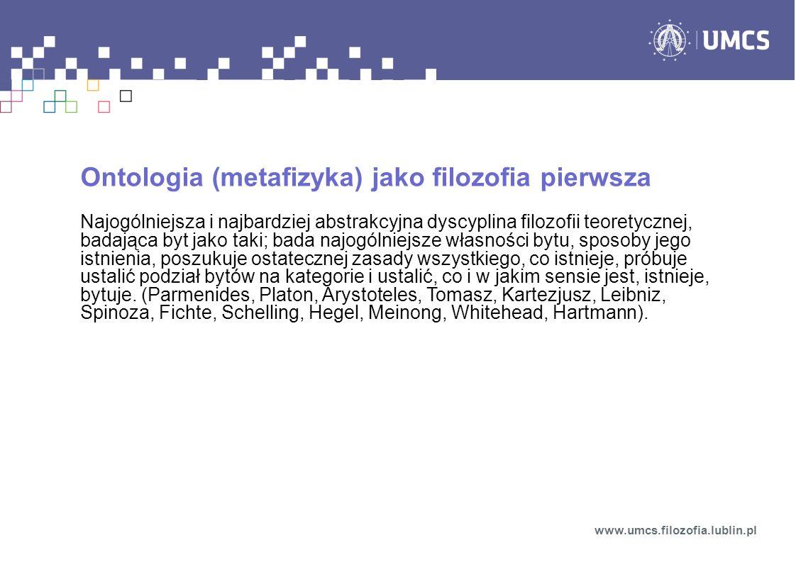 Ontologia (metafizyka) jako filozofia pierwsza
