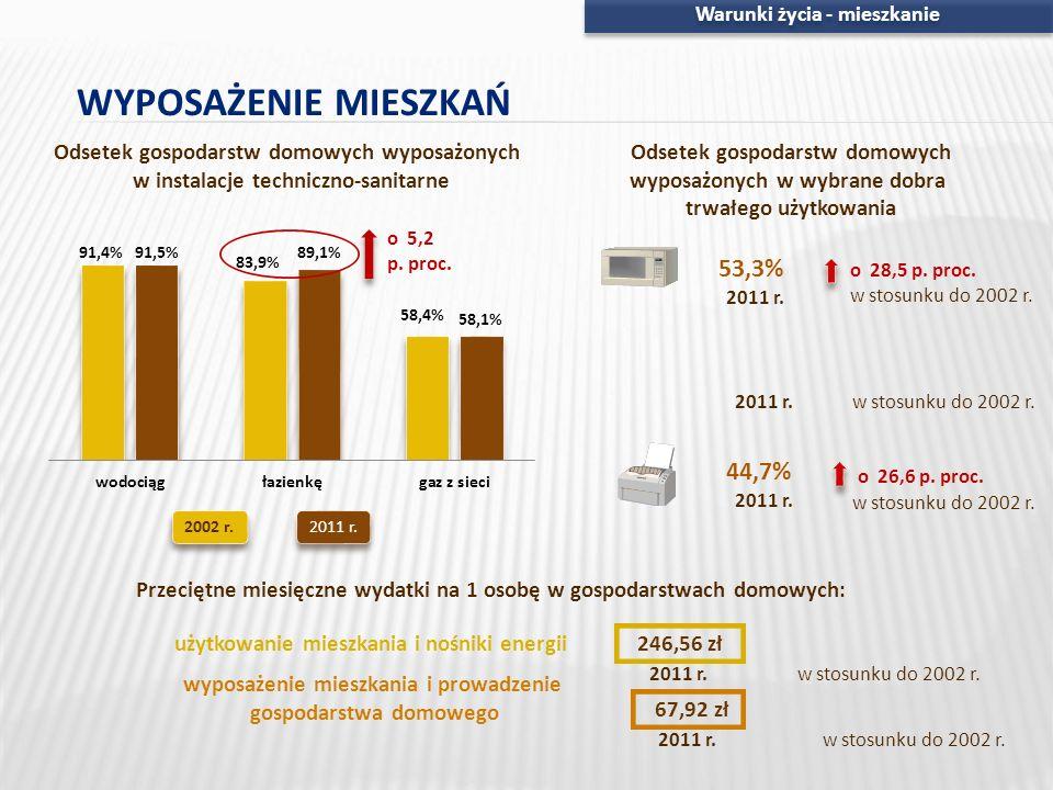 WYPOSAŻENIE MIESZKAŃ 53,3% 23,5% 44,7%