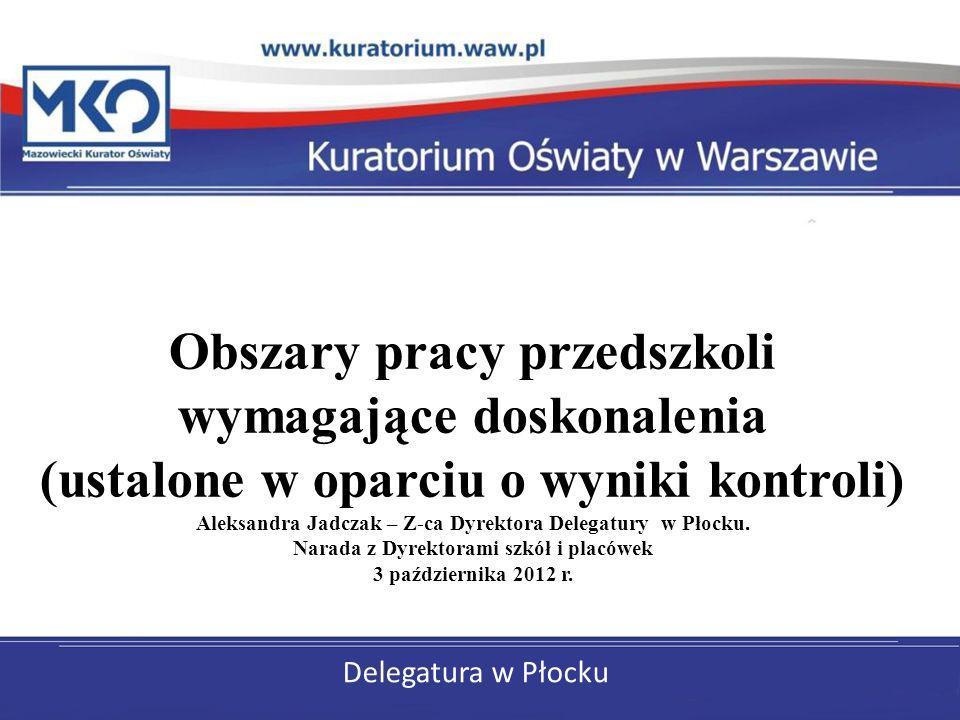 Obszary pracy przedszkoli wymagające doskonalenia (ustalone w oparciu o wyniki kontroli) Aleksandra Jadczak – Z-ca Dyrektora Delegatury w Płocku. Narada z Dyrektorami szkół i placówek 3 października 2012 r.