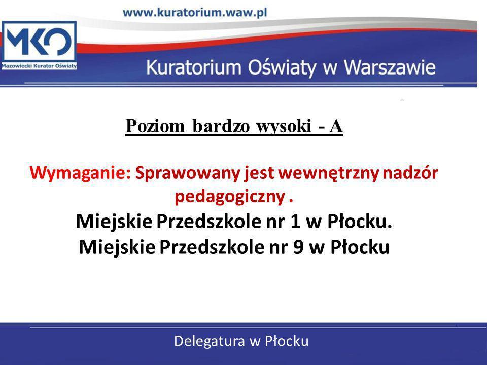 Poziom bardzo wysoki - A Wymaganie: Sprawowany jest wewnętrzny nadzór pedagogiczny . Miejskie Przedszkole nr 1 w Płocku. Miejskie Przedszkole nr 9 w Płocku