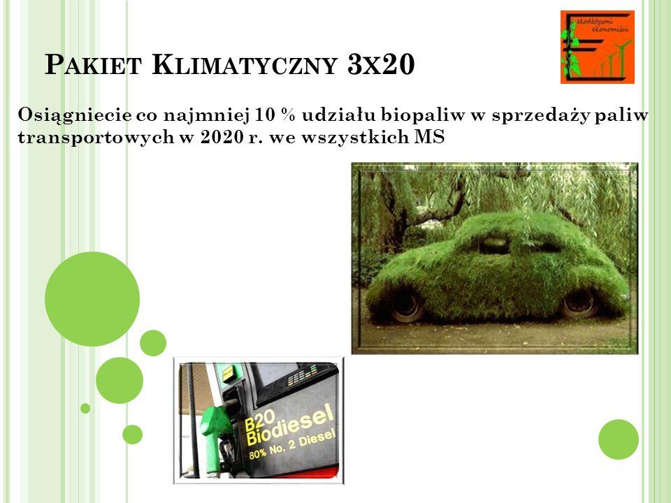 Pakiet Klimatyczny 3x20 Osiągniecie co najmniej 10 % udziału biopaliw w sprzedaży paliw transportowych w 2020 r.